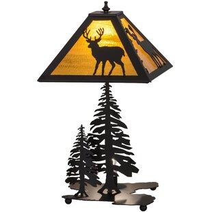 Placid Deer Lighted Base 21 Table Lamp