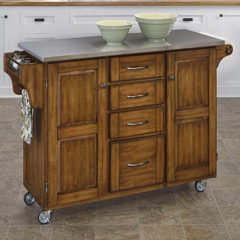 August Grove Adelle A Cart Kitchen Island With Stainless Steel Top Reviews Wayfair