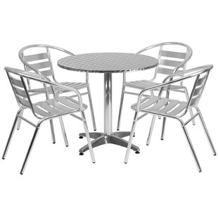 Ebern Designs Victor Round Indoor Outdoor 5 Piece Bar Height Dining Set
