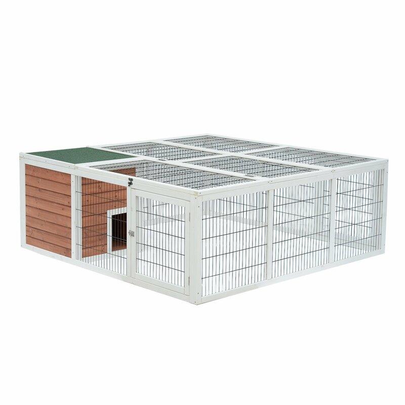 Tucker Murphy Pet Germania Wooden Outdoor Cage Rabbit Hutch Playpen ...