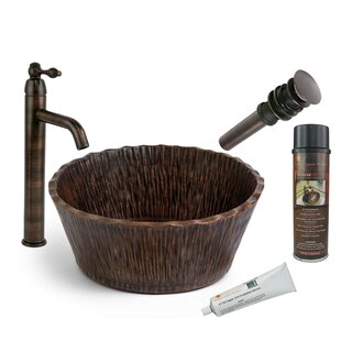 Premier Copper Products Forest Metal Circular Vessel Bathroom Sink with Faucet