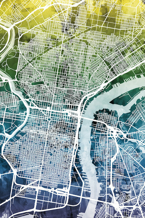 East Urban Home Color Gradient Urban Street Map Series Philadelphia Pennsylvania Usa Graphic Art On Wrapped Canvas Wayfair