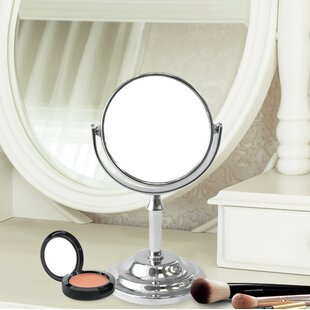 Comparison Dingle Mini Round Double Sided Magnifying Standing Makeup/Shaving Mirror By Charlton Home