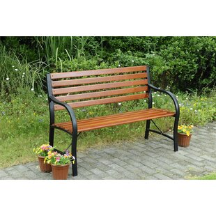 Shop For Elizabeth Street Steel and Wood Garden Bench Price & Reviews