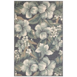 Mario Tropical Flower Blue/White Indoor/Outdoor Area Rug