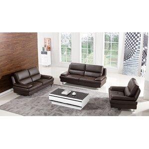 Elegant Harrison Leather 3 Piece Living Room Set