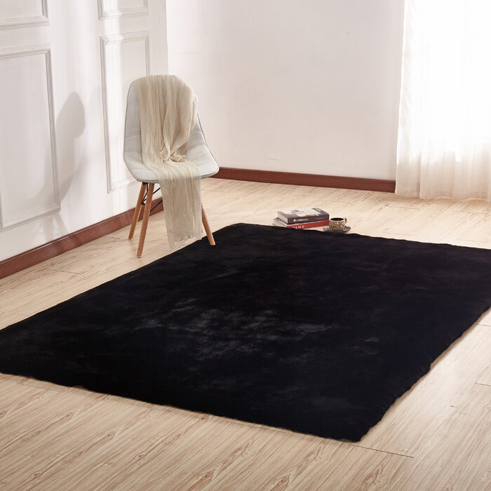 Korman Plush Rabbit Skin Black Area Rug