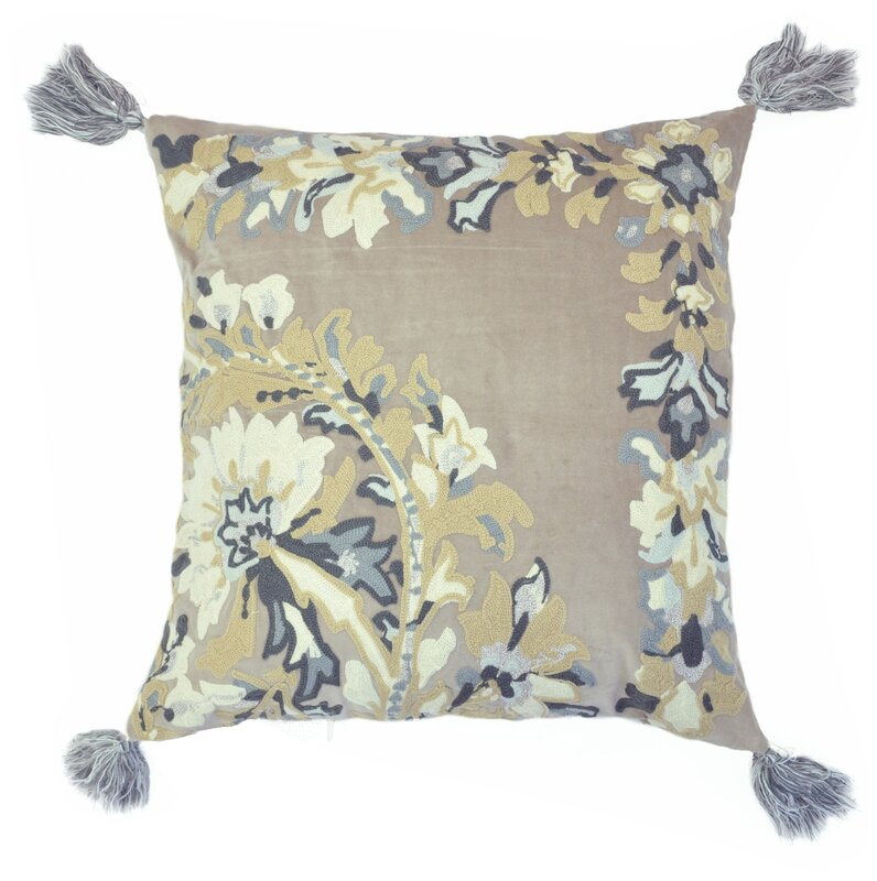 pillow with tassels. embroidered chain stitch floral throw pillow with tassels t