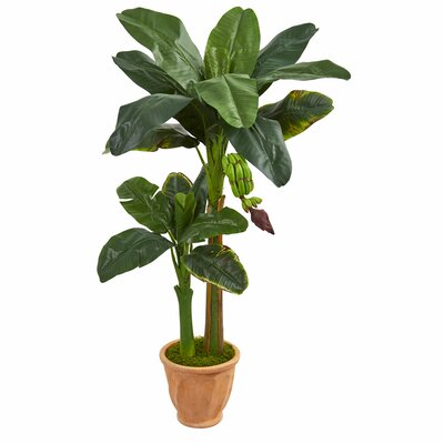 Double Stalk Artificial Banana Leaf Tree in Planter Bayou Breeze