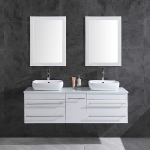 Seltzer 60 Wall-Mounted Double Bathroom Vanity Set with Mirror By Orren Ellis