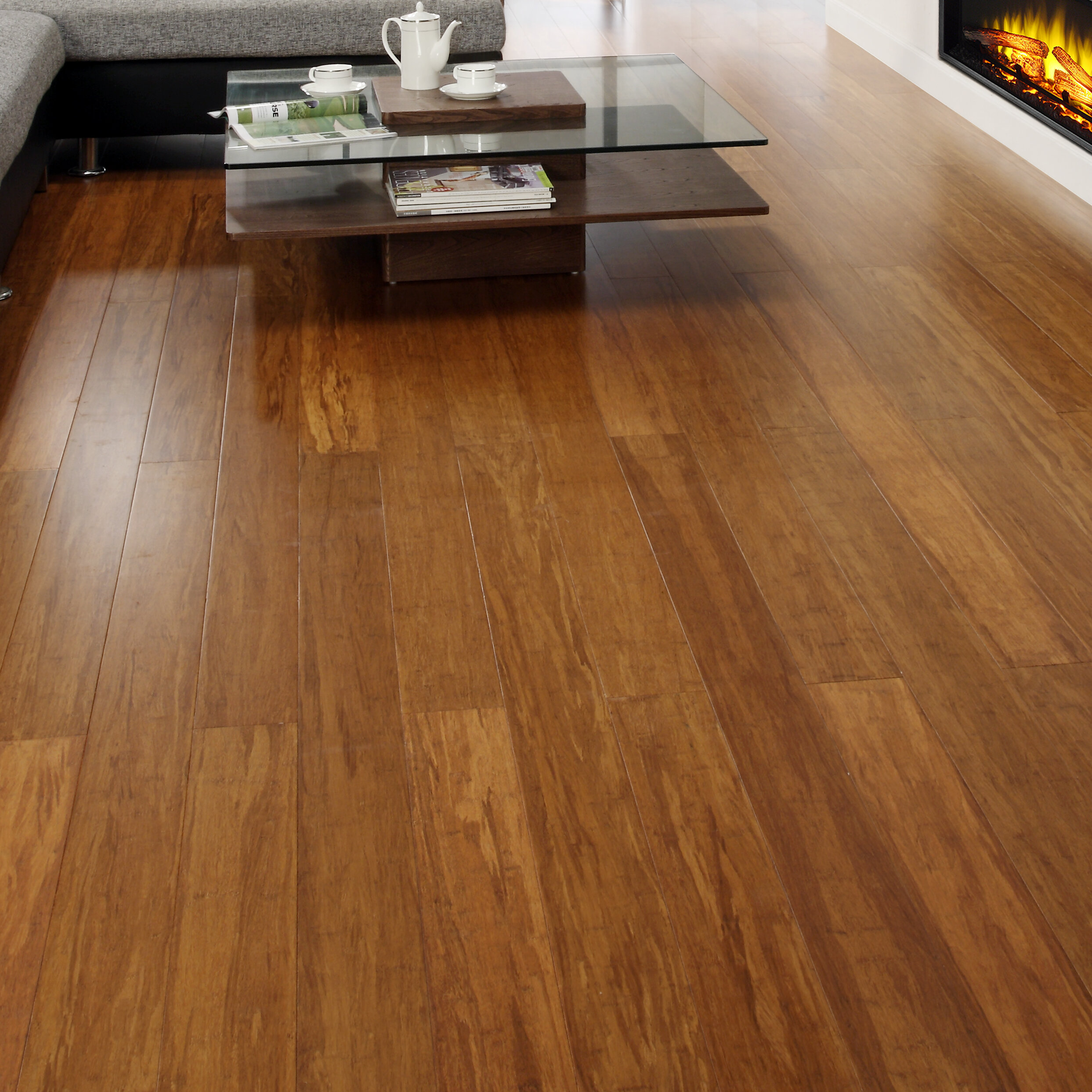 "Easoon USA 5"" Engineered Strand Woven Bamboo Flooring in Caramel"