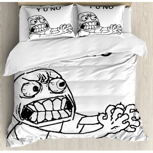 East Urban Home Humor Mascot Rage Guy Meme Face Figure with Big Eyes Full of Anger Hipster Smile Art Duvet Set