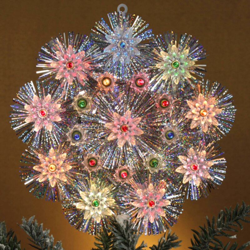 retro tinsel snowflake christmas tree topper - Lighted Christmas Tree Toppers