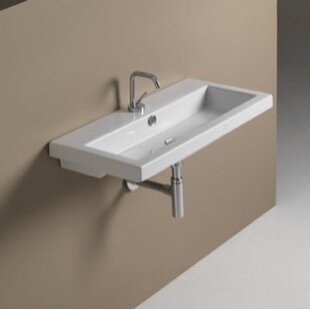 Compare & Buy 40 Ceramic 32 Wall Mount Bathroom Sink with Overflow By Ceramica Tecla by Nameeks