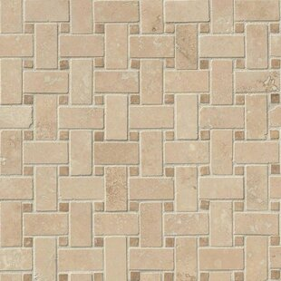 Basketweave Hon Travertine Mosaic Tile In Cream