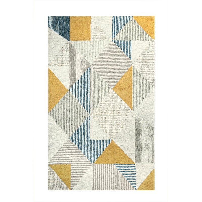 Companyc Griffin Geometric Handmade Tufted Wool Blue Gray Yellow Area Rug Reviews Wayfair