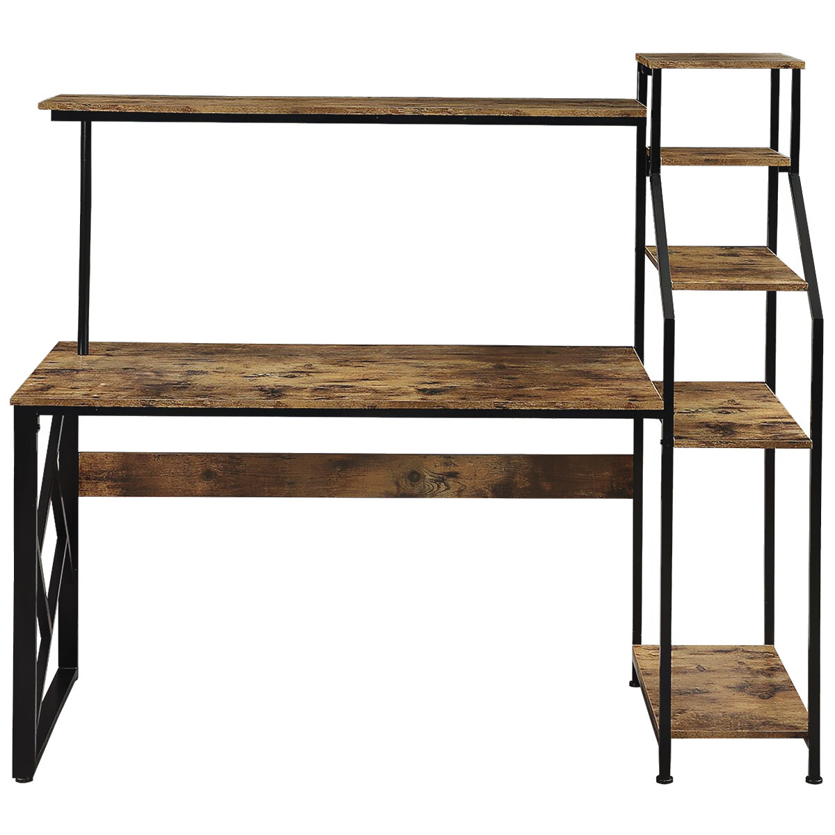 Picture of: 17 Stories Home Office Computer Desk With Hutch And Shelf Writing Study Table With 5 Tier Bookshelves Multipurpose Pc Workstation Brown Wayfair