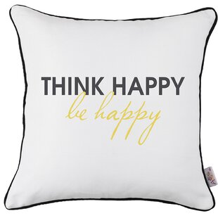 Alemany Square Think Happy Printed Pillow Cover