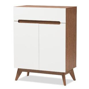 Mid-Century Walnut 9 Pair Shoe Storage Cabinet