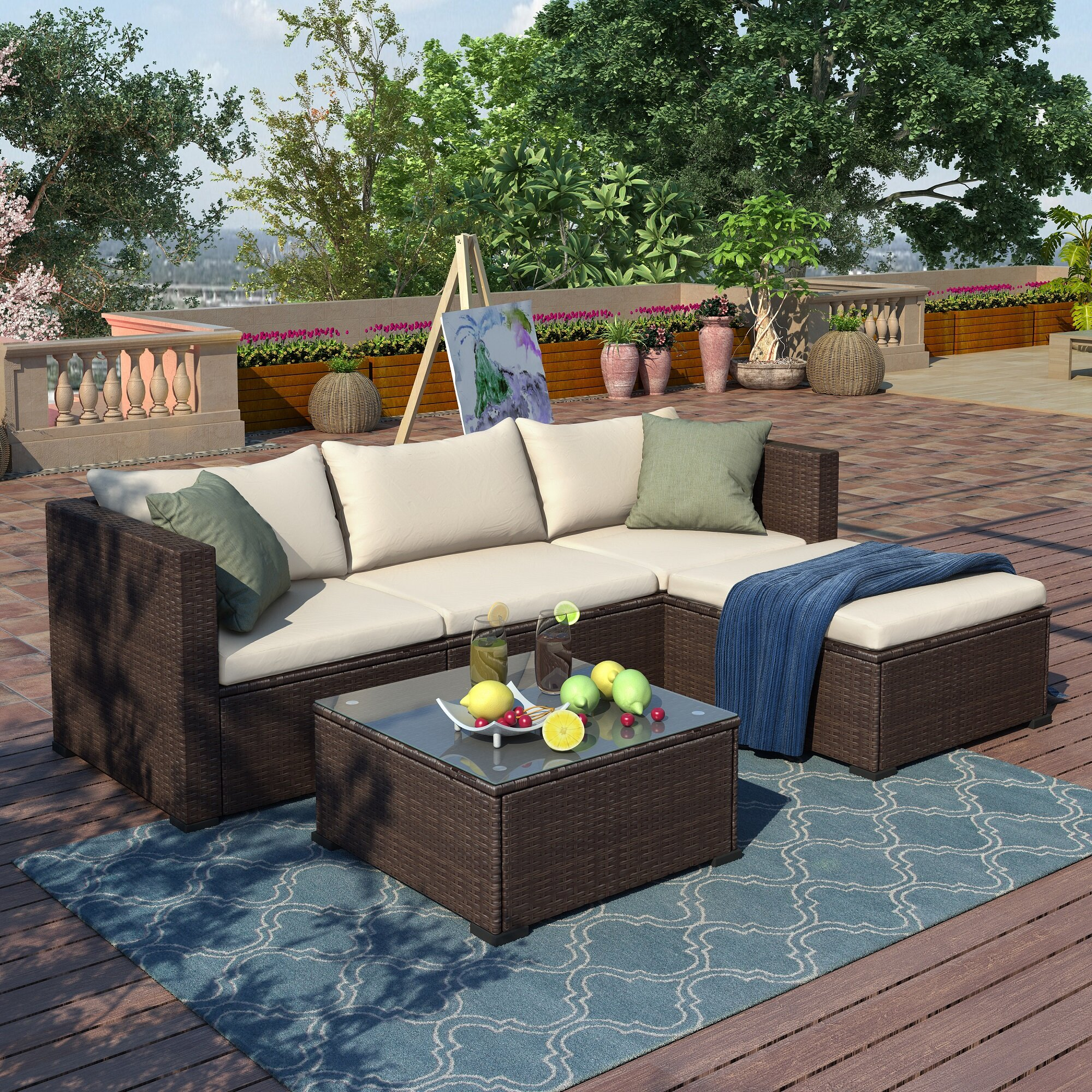 Latitude Run Arthetta 5 Piece Rattan Sectional Seating Group With Cushions Reviews Wayfair