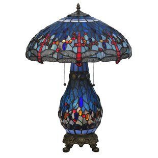 Tiffany Hanginghead Dragonfly Lighted Base 25.5 Table Lamp