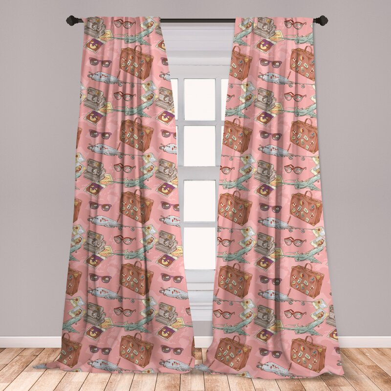 East Urban Home Ambesonne Airplane Curtains Bon Voyage Vacation Tourist Pattern With Luggage Polaroid Camera And Sunglasses Window Treatments 2 Panel Set For Living Room Bedroom Decor 56 X 95 Multicolor Wayfair