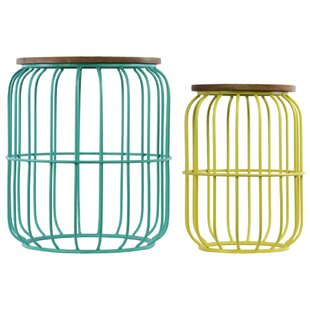 Searching for Saxonburg Barrel Shaped Metal 2 Pieces Nesting Tables with Wood Top By Bungalow Rose