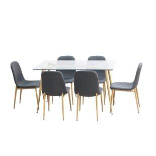 Gramercy Park Modern Glass 7 Piece Dining Set