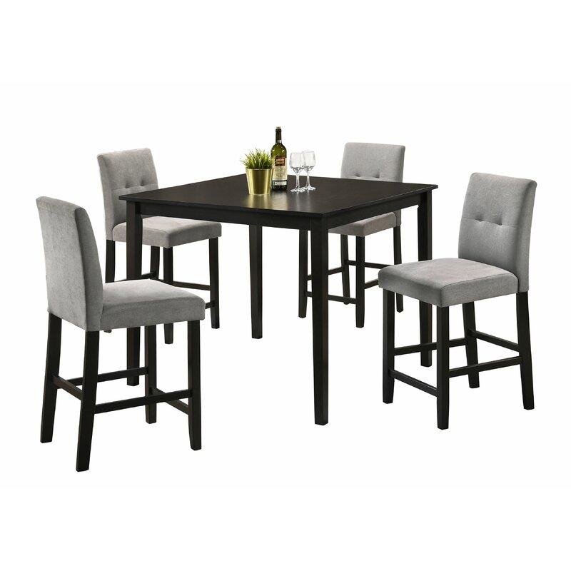 White Cane Outdoor Furniture, Red Barrel Studio Belcourt 5 Piece Counter Height Dining Set Wayfair