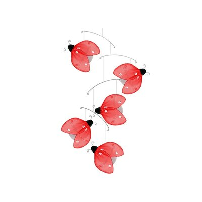 Ladybug Glitter Nylon Hanging Mobile Bugs-n-Blooms Color: Red