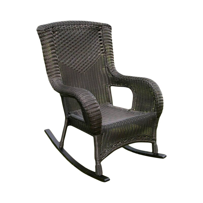 Wicker Resin Aluminum High Back Patio Rocking Chair