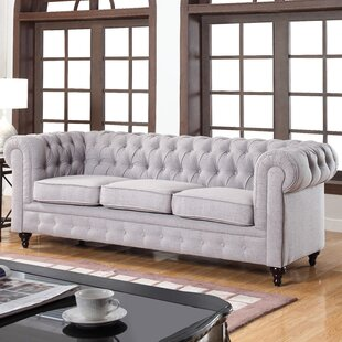 Elina Clic Tufted Linen Fabric Chesterfield Sofa