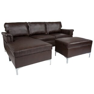 Strunk Upholstered Plush Pillow Back Modular Sectional with Ottoman