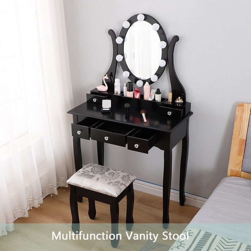 Rosdorf Park Vanity Table Set With Lighted Mirror Makeup Dressing Table With 10 Led Lights Wayfair