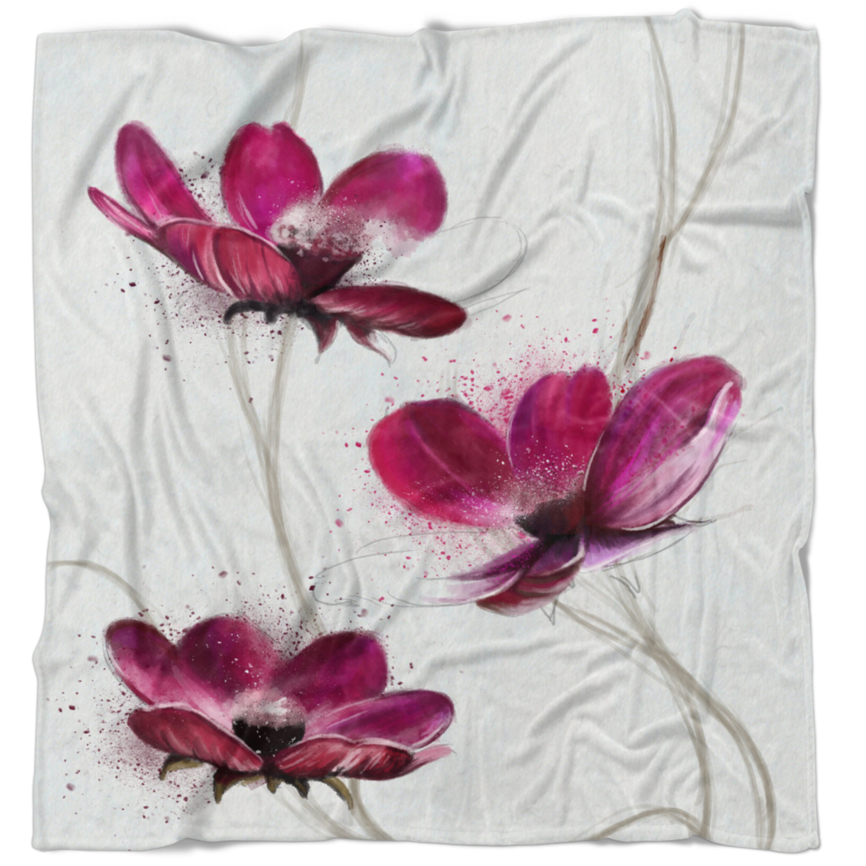 East Urban Home Flowerswork Lovely Watercolor Poppies Blanket Wayfair