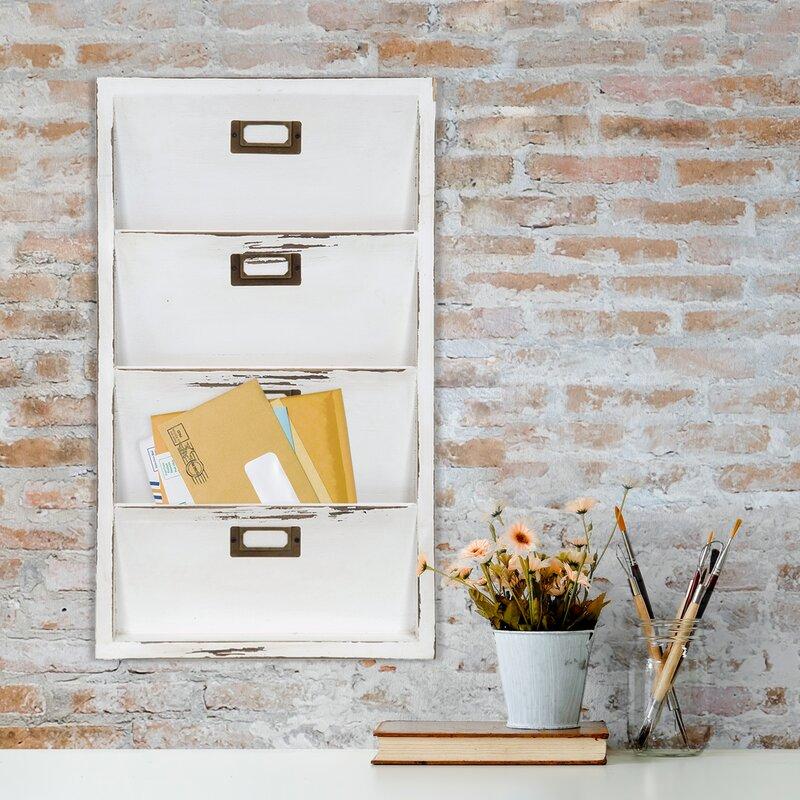 Norfork Distressed Wall Mail Organizer Letter Bin