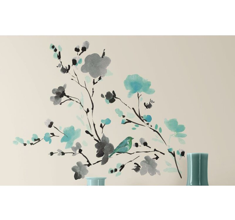 room mates deco blossom watercolor bird branch wall decal & reviews