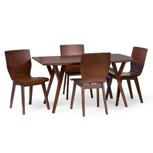 Slye Dark Walnut Bent Wood 5-Piece Dining..