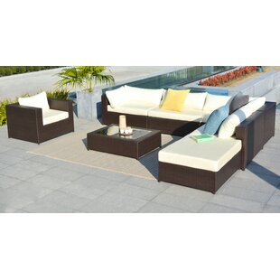 Gracey Rattan Sectional Sofa Set With Cushions by Orren Ellis 2019 Coupon