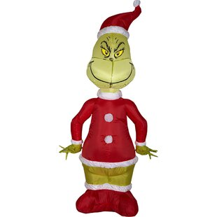 airblown grinch as santa inflatable