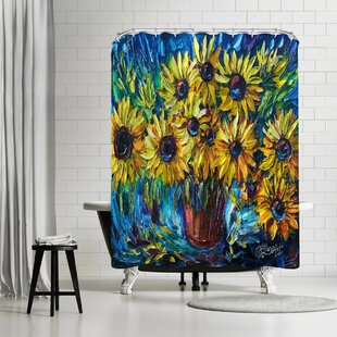 OLena Art Sunflowers Single Shower Curtain