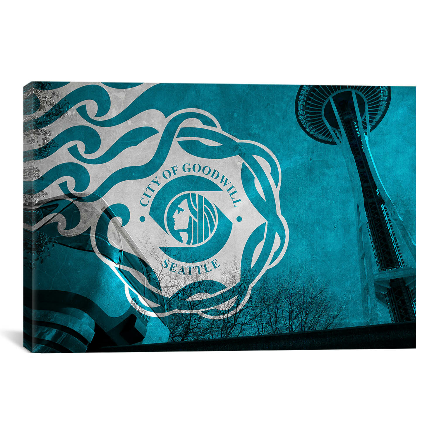 Winston Porter Flags Seattle Monorail And Space Needle With Grunge Graphic Art On Canvas Wayfair