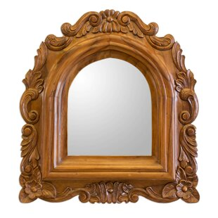 Yoa Carved Wood Wall Mirror