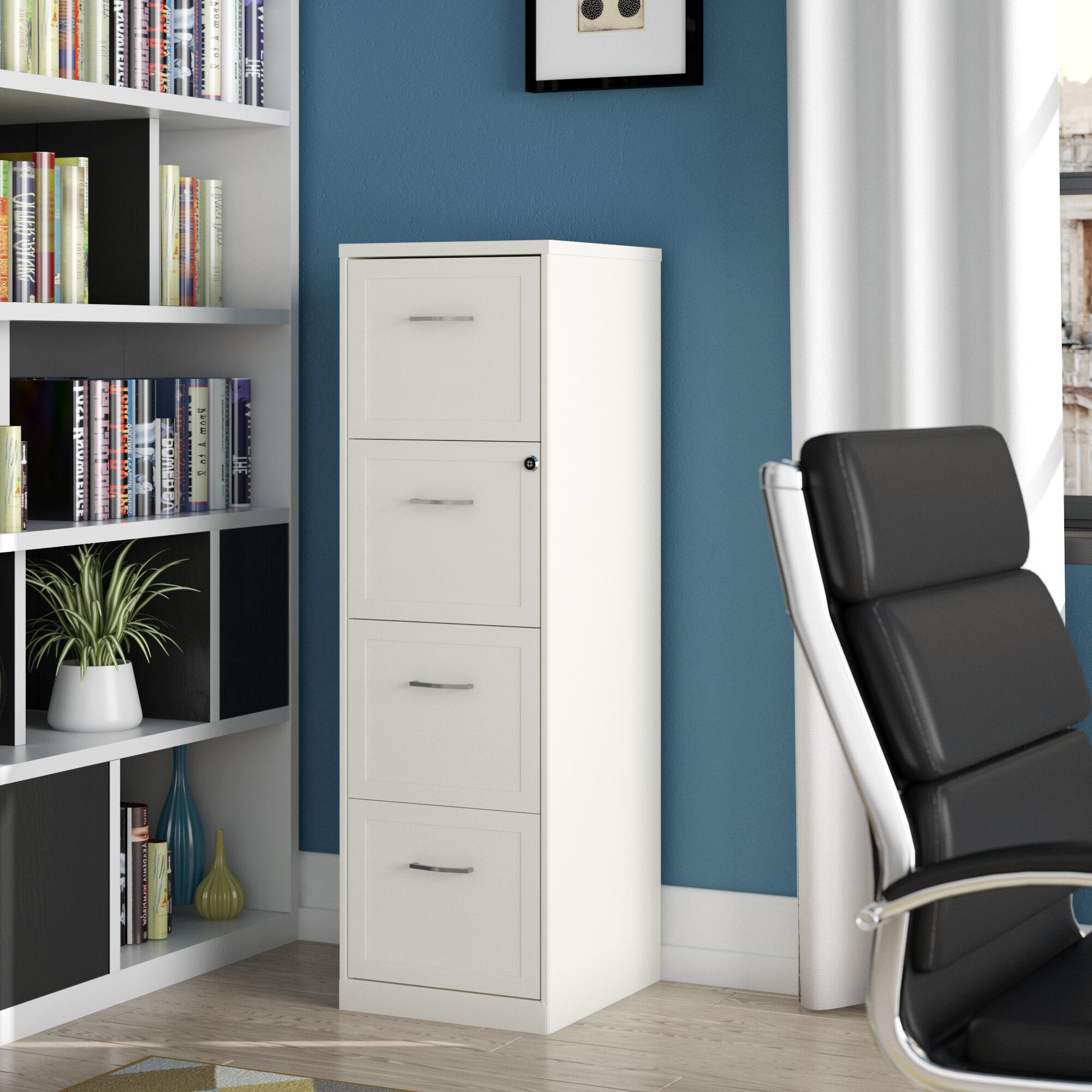 Image of: Ebern Designs Cavitt 4 Drawer Vertical Filing Cabinet Reviews Wayfair