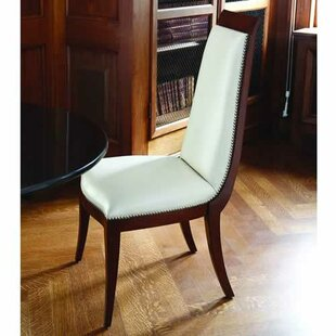 Global Views Elegant Deco Genuine Leather Upholstered Dining Chair