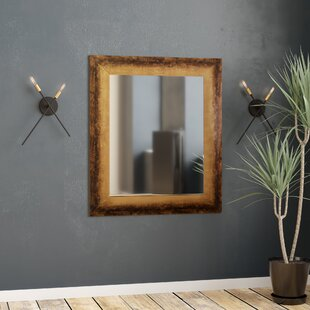 Rectangle Tarnished Bronze Industrial Distressed Wall Mirror by 17 Stories