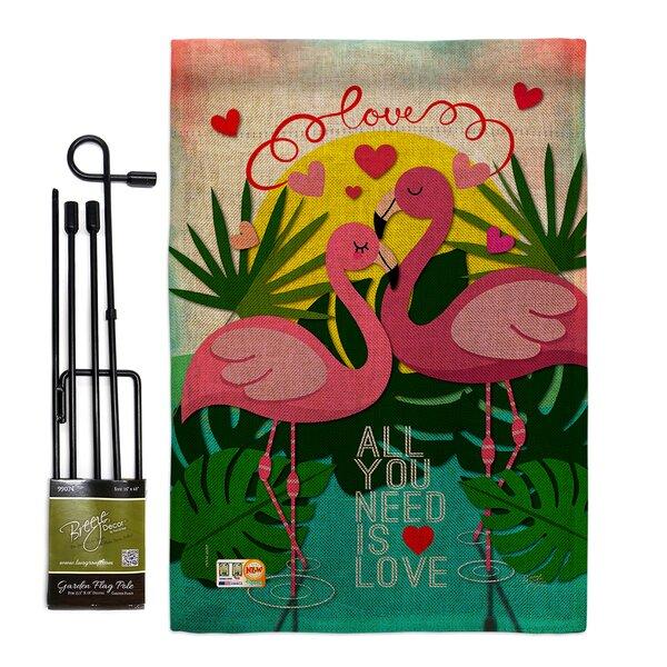 Breeze Decor Flamingo Lover Burlap Spring Valentines Impressions 2 Sided Polyester 18 5 X 13 In Garden Flag Set Wayfair