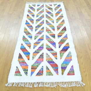 Searching for One-of-a-Kind Salyers Handmade Kilim Runner 2'7 x 6' Wool White Area Rug By Isabelline