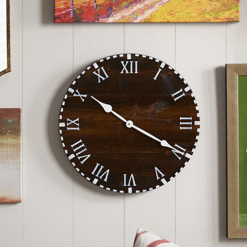 Oversized 18 Colchester Reclaimed Style Round Wood Wall Clock