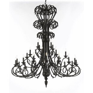 Jules Foyer/Entryway Iron 28-Light Candle Style Chandelier by Rosdorf Park